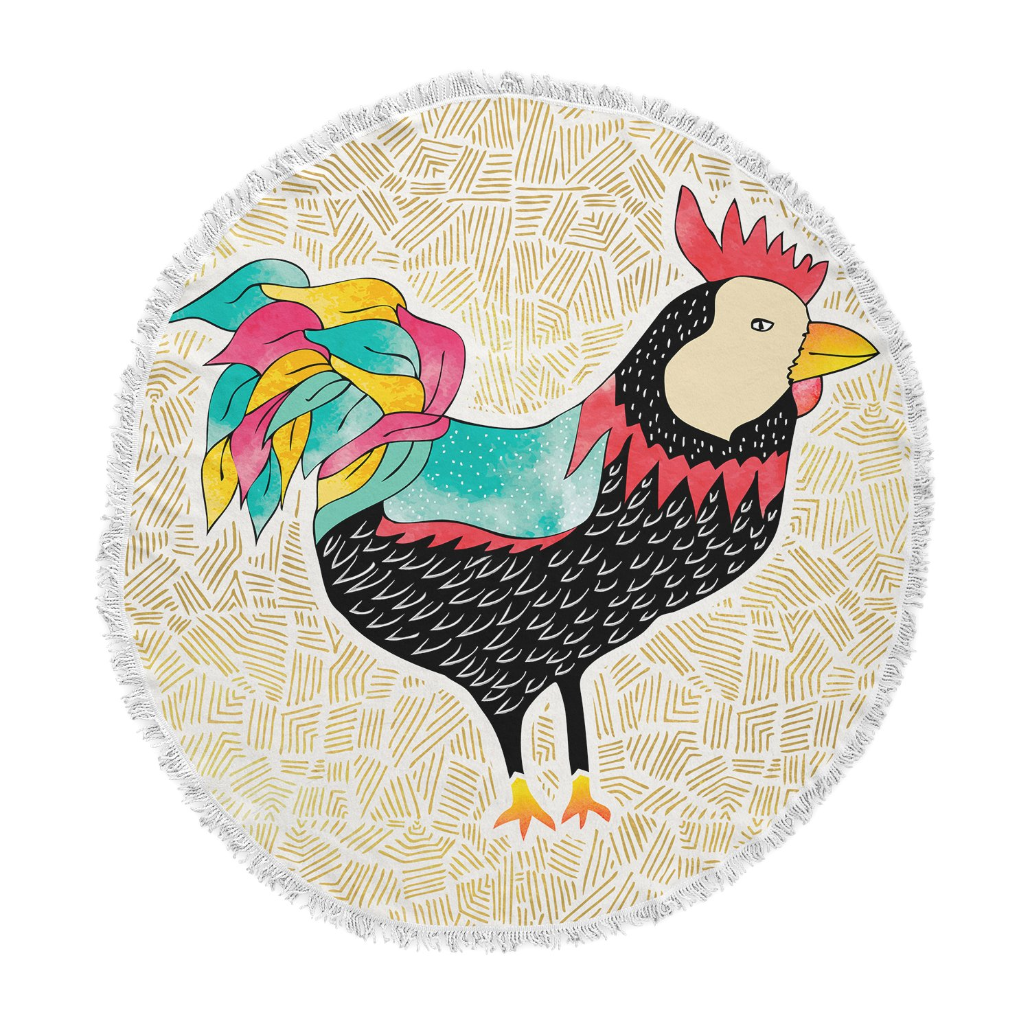 Kess InHouse Pom Graphic Design Cuckaroo Rooster Black Gold Round Beach Towel Blanket