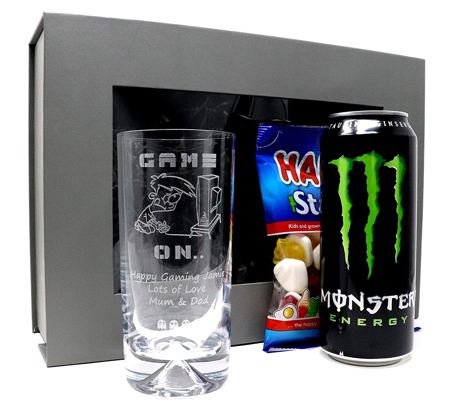 Engraved//Personalised *Gamer Design* Dimple Highball Glass Gift Boxed