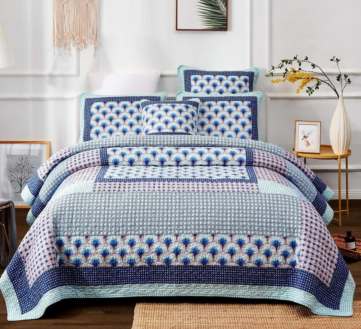 DaDa Bedding Cotton Patchwork Quilt - Fairy Forest Glade Floral Print Bedspread Set, Turquoise Real Patchwork, Cal King, 3-Pieces