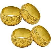 SKAVIJ Metal Floral Napkin Rings Set for Dining Table Decoration (Dia-1.5 Inch)