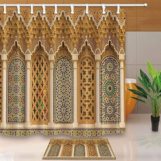Rustic Moroccan Decor 3D Geometric Patterns Bath Rugs Non-Slip Floor Door Mat