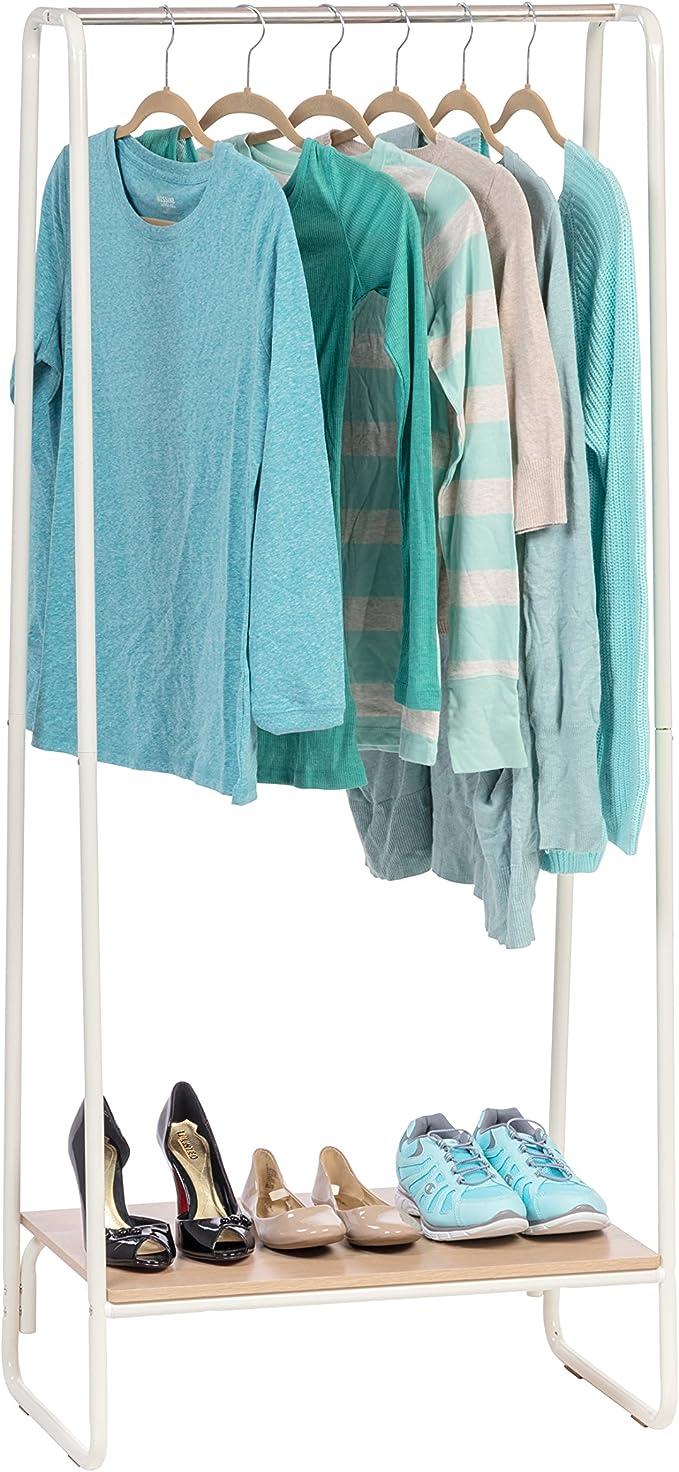 Iris Usa Metal Garment Rack With Wood Shelf White And Light Brown Pi B1 Amazon Co Uk Kitchen Home