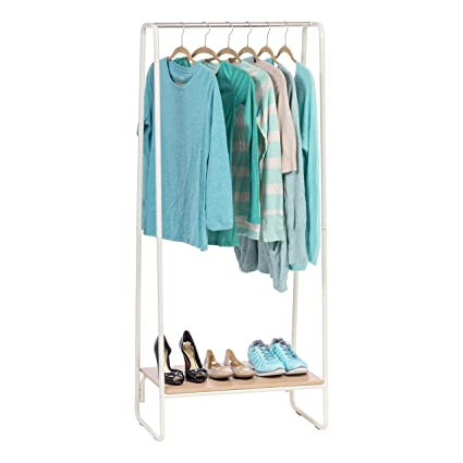 Phenomenal Iris Metal Garment Rack With Wood Shelf White And Light Brown Andrewgaddart Wooden Chair Designs For Living Room Andrewgaddartcom
