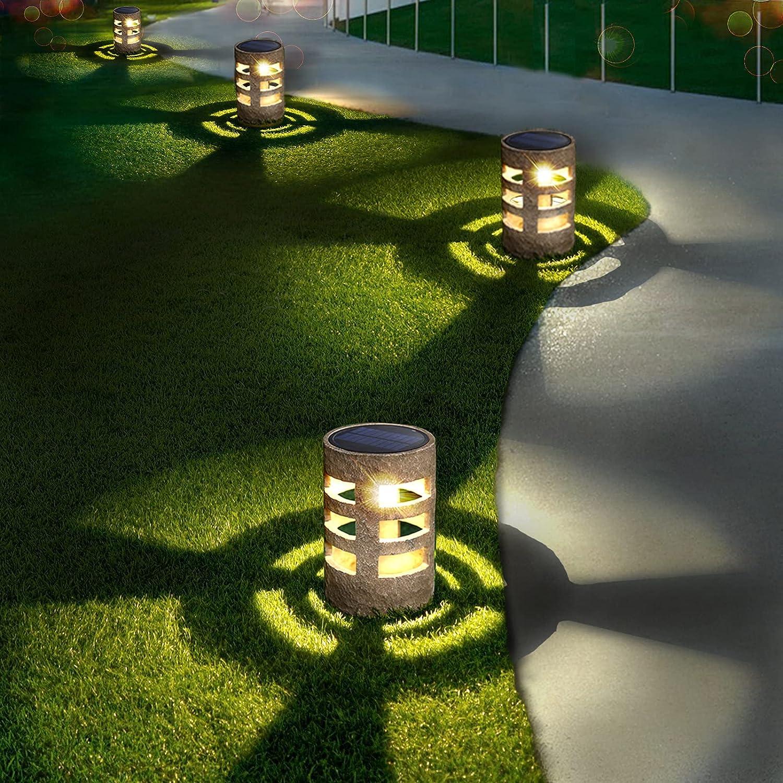 Solar Lights Outdoor Decorative (4pcs), Auto-Work Stone Imitation Solar Garden Lights, Solar Yard Lights, Solar Pathway Lights, Outdoor Solar Lights Waterproof for Garden Yard Decor Walkway Pathway