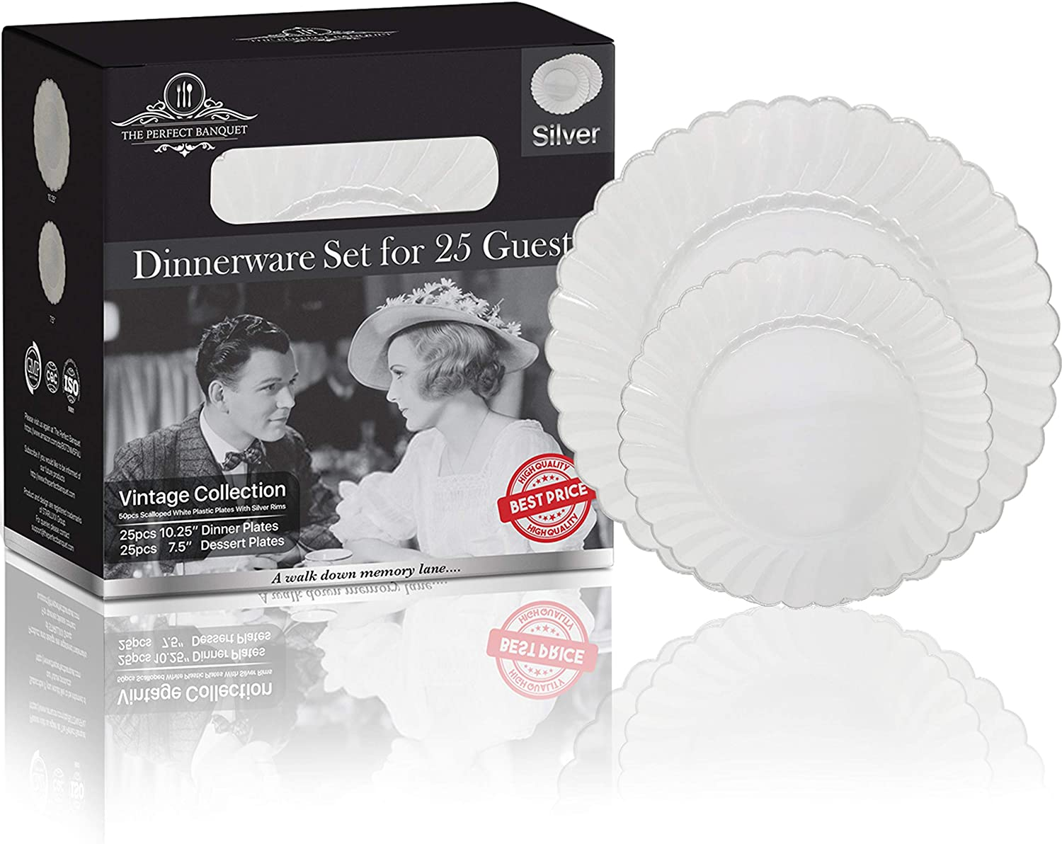 The Perfect Banquet- Dinnerware Set for 25 Guests Disposable Plastic Plates Wedding Party Travel Gift Dinner Dessert Salad Elegant Premium Quality Reusable | 50 Vintage Scalloped White with Silver Rim