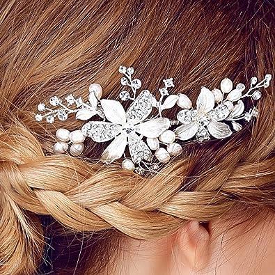 YAZILIND tocado de pelo nupcial peine flores zirconia cúbica accesorios de  la boda del pelo del ... c6b18fcd21a4