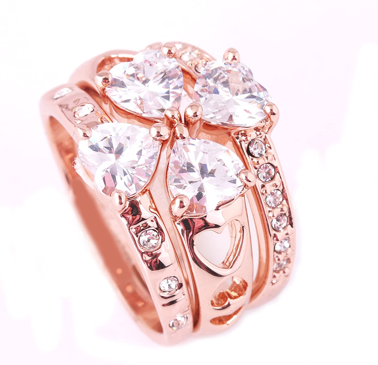 Amazon.com: Acefeel Four Clover Wedding Ring With Heart Cubic ...
