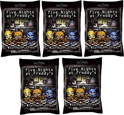 """FNAF Officially Licensed Five Nights At Freddy/'s 3/"""" Figure Hangers Toy 5-Packs"""