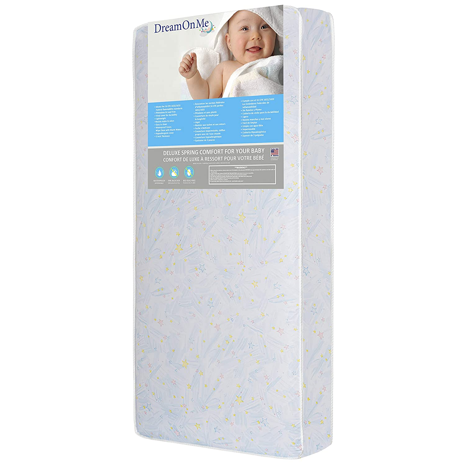 Dream On Me Crib and Toddler, 180 Coil Mattress, Star Bright 153-180