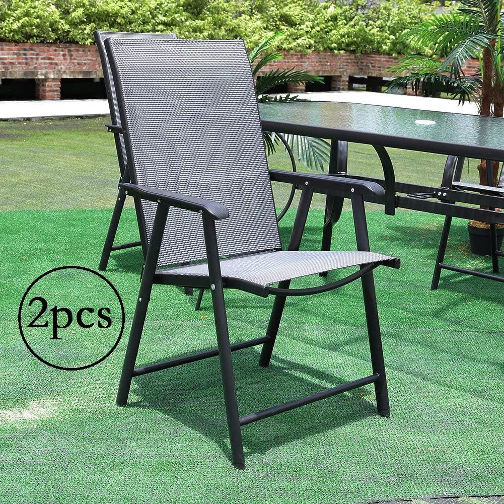Warmiehomy 2Pcs Garden Chair, Outdoor Folding Chair Set, Patio Backyard Sunloungers with Durable Aluminum Structure for Garden,Terrace