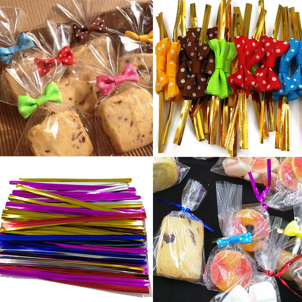 200 Clear Treat Bags with 200 Pcs Twist Ties 20 Bowknot 5 Colors,Clear Cellophone Bags Party Favor Bags for Lollipop Cake Pop Candy Buffet Chocolate Cookie Wedding Supply (4\'\' x 6\'\')