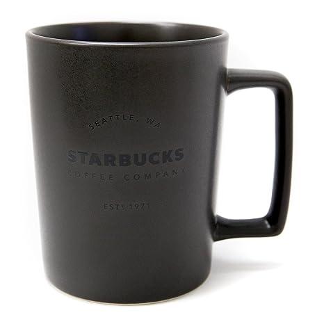 43bcb0d1f6a Amazon.com: New Starbucks Seattle Matte Charcoal Black Handle Coffee Mug, 16  fl oz.: Kitchen & Dining