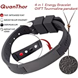 EMF Protection Anti Radiation BRACELET 4 in 1 (Pendant BONUS). Negative Ions, Germanium, Far Infrared and Neodymium Magnet. Arthritis Pain.Carpal Tunnel.Immunity.Migraines