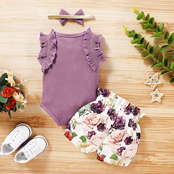 Outfit Set Baby Girls Cute Floral Bodysuit