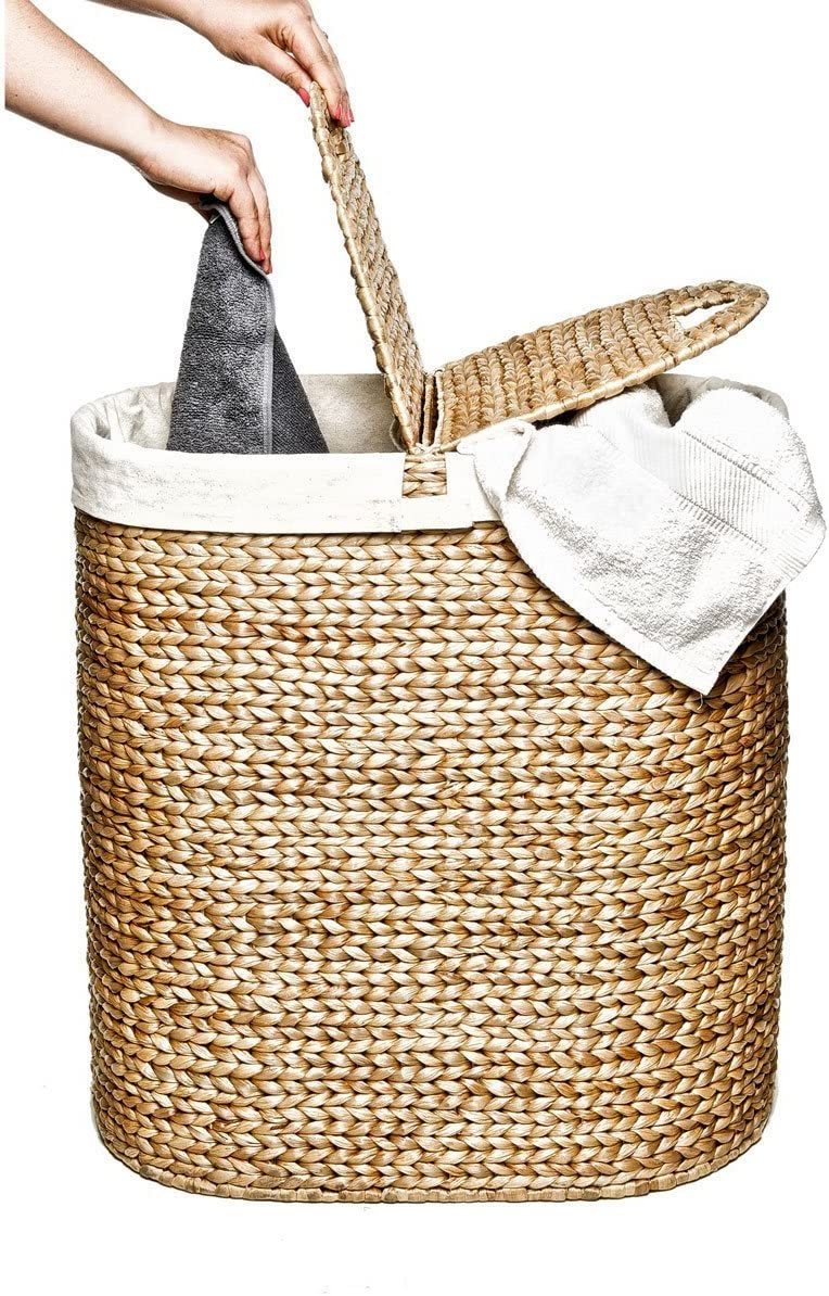 Seville Classics Water-Hyacinth Lidded Oval Laundry Hamper