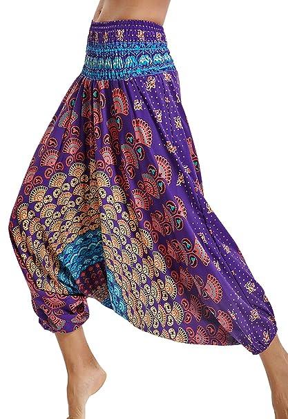 Pantalones de Yoga Sueltos Mujer Harem Boho del Lazo del Pavo Real Flaral Funky