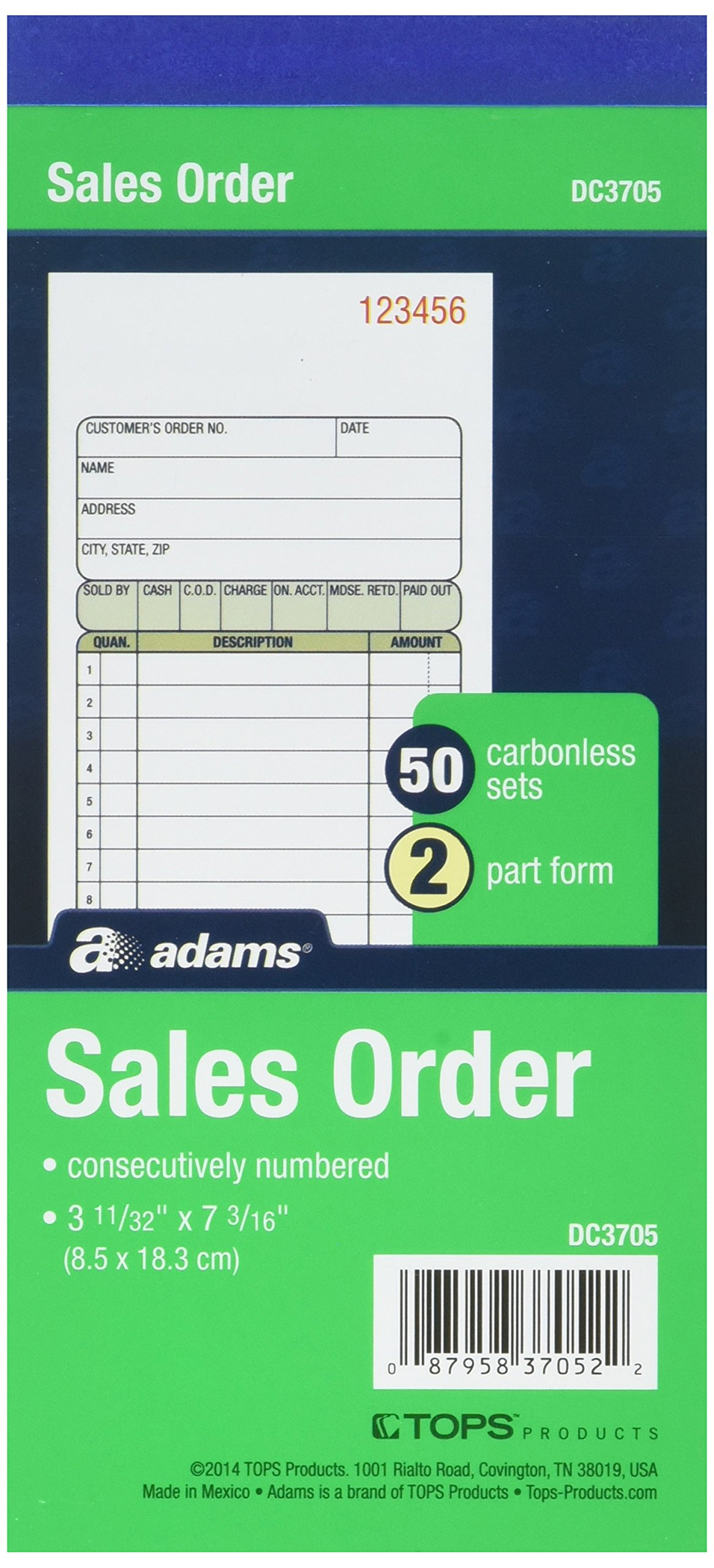 Adams Sales Order Books, DC3705, Case of 25