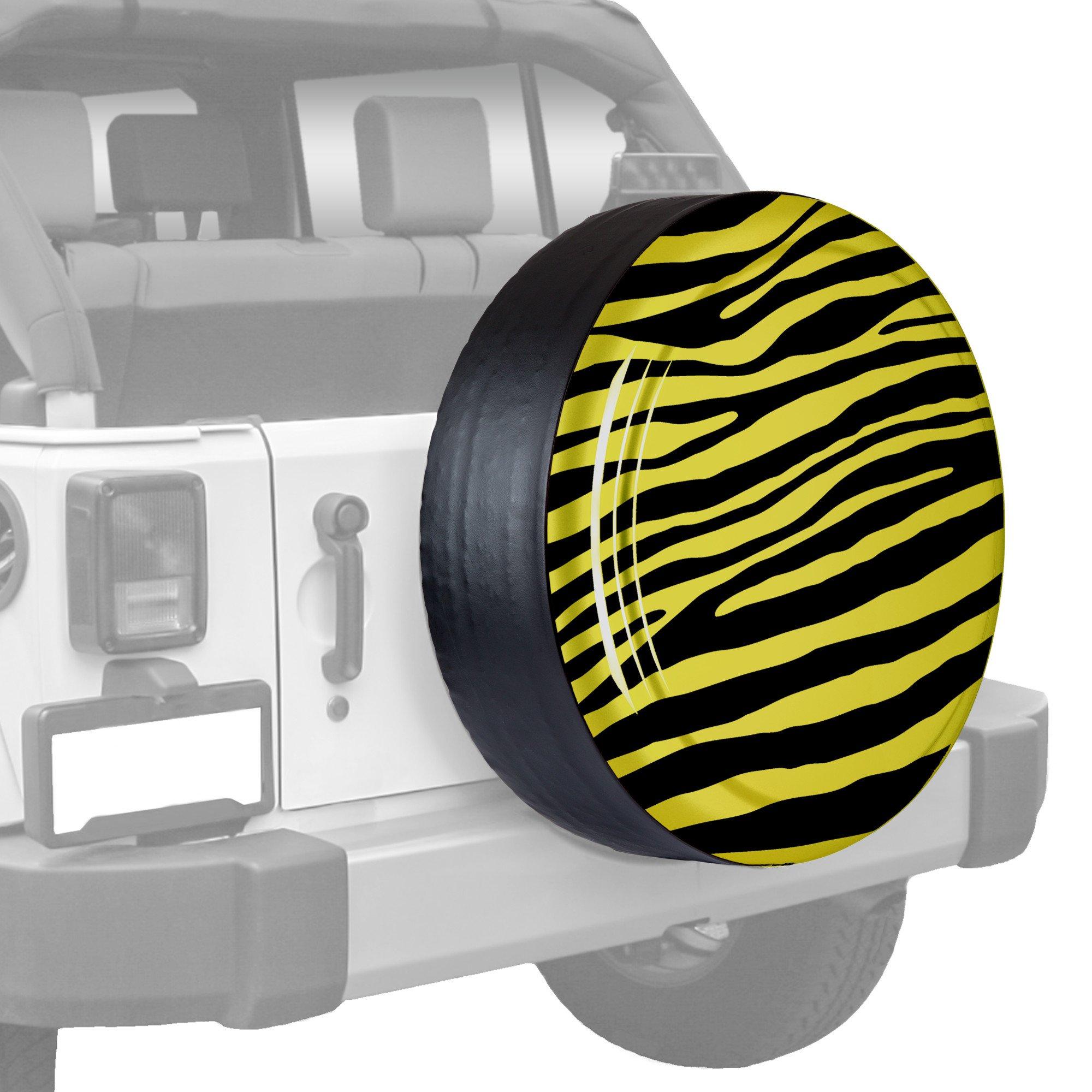 30'' Zebra Print - Color Matched Rigid Tire Cover (Plastic Face & Vinyl Band) - Jeep Wrangler (JK) - Acid Yellow