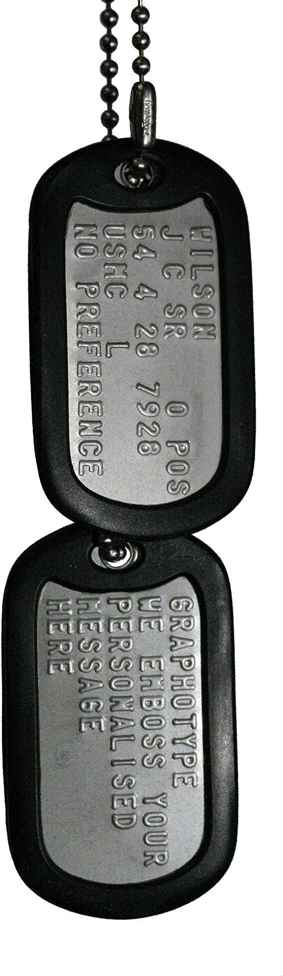Graphotype™ Chapa Militar: Juego de 2 chapas de identificación Tipo Militar, con Cadenas de Bolas y silenciadores. (Leer la descripción para Ver cómo personalizarlas): Amazon.es: Juguetes y juegos