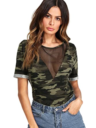 8931856f7491 ROMWE Women s Casual Sheer Mesh V Neck Short Sleeve Camo Print Tee Shirt  Tops Army Green