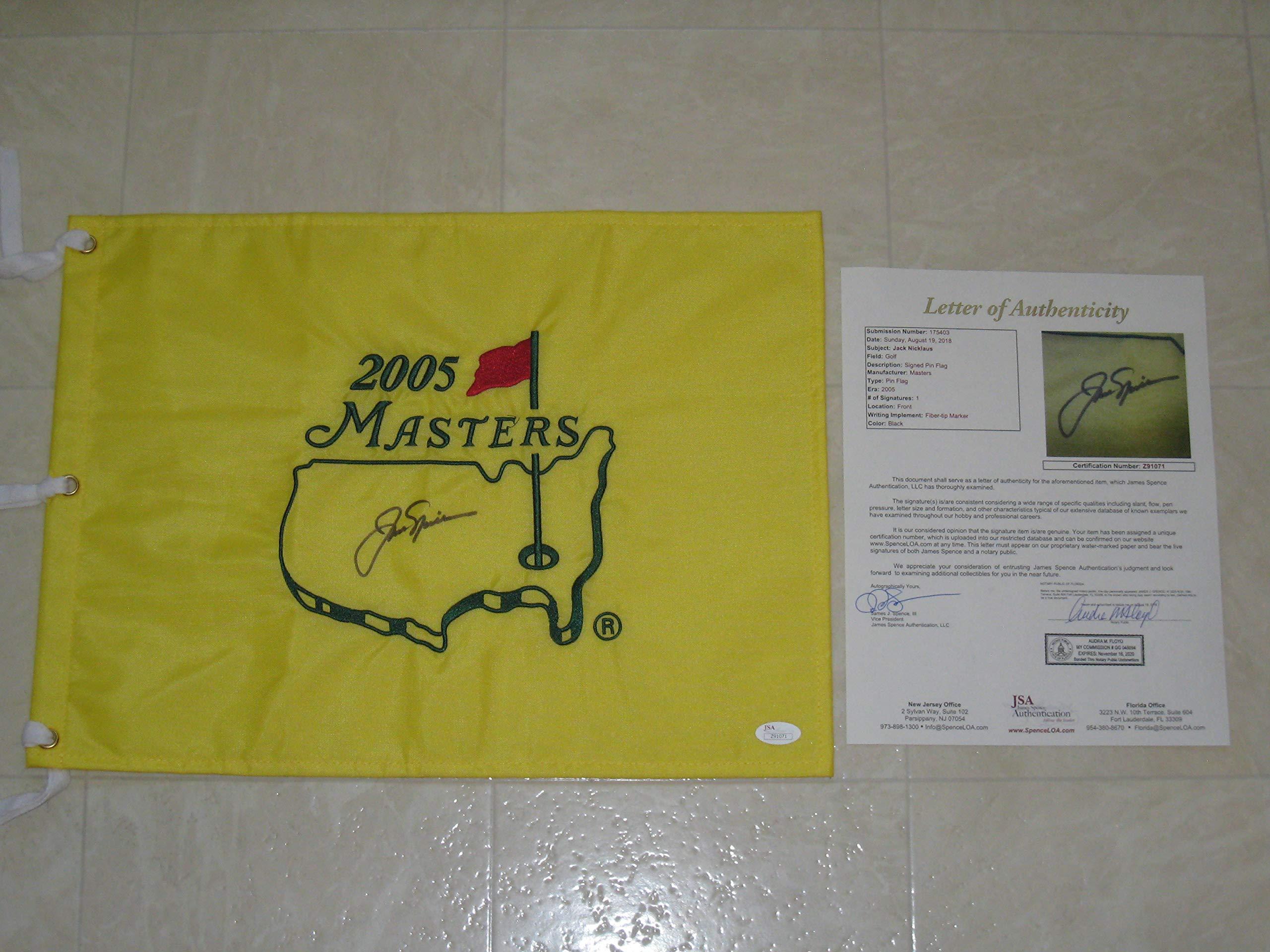 Jack Nicklaus signed 2005 Masters PGA Tour Golf Flag JSA Letter