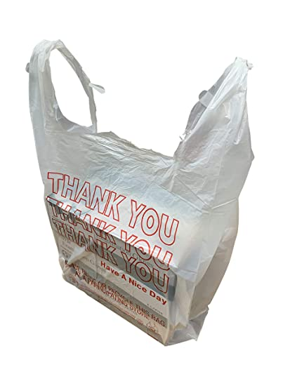 HDPE Handled Plastic T-Shirt Bags, Grocery Bags, White with