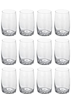Somil New Design Beverage Tumbler Clear Transparent Drinking Glass Set Of Twelve ( Multipurpose) Glassware & Drinkware at amazon