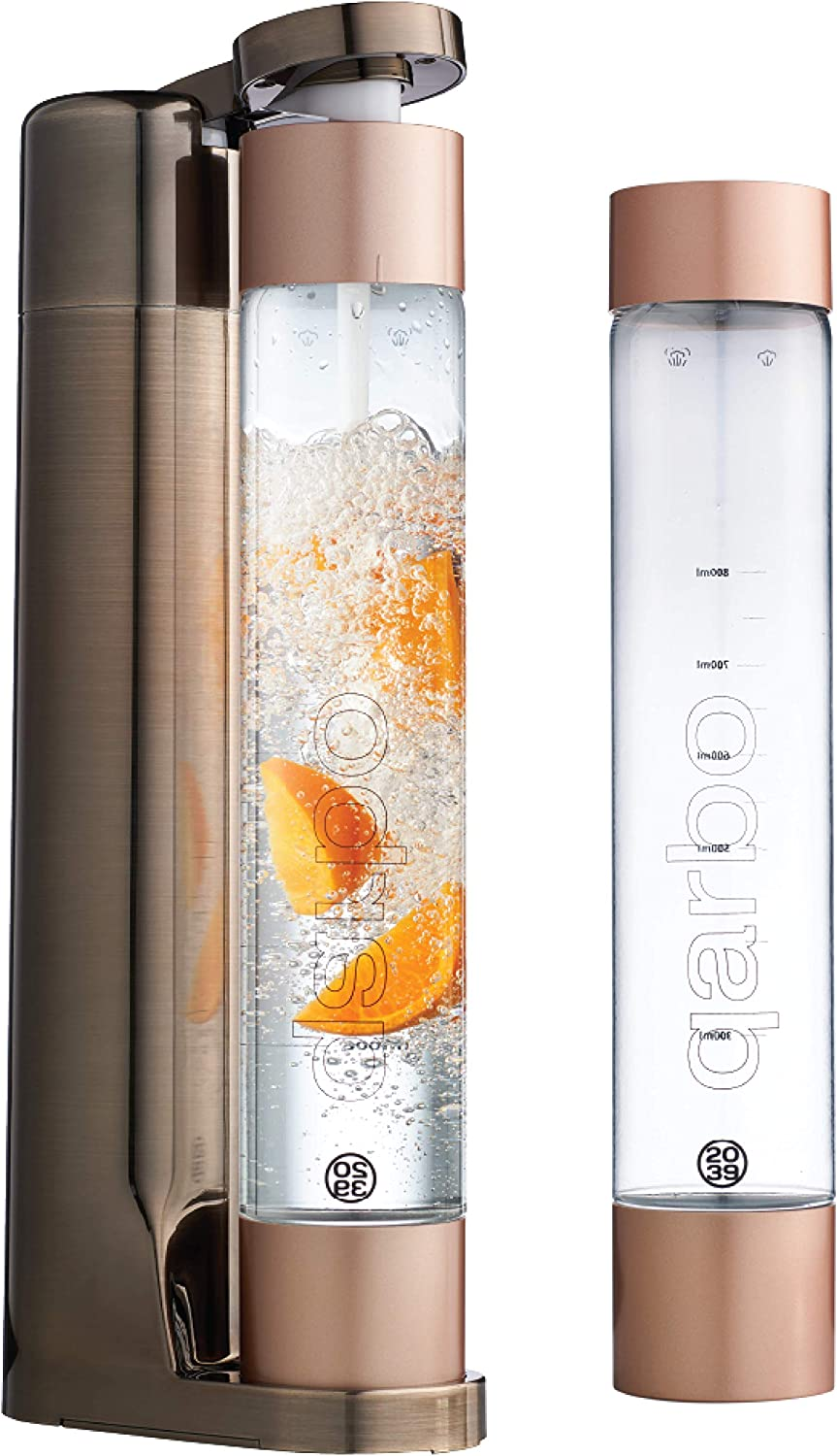 twenty39 qarbo Sparkling Water Maker and Fruit Infuser - Premium Carbonation Machine with Two 1L BPA Free Bottles - Infuses Flavor while Carbonating Beverages, Use Standard Gas Cylinder (not included), Bronze