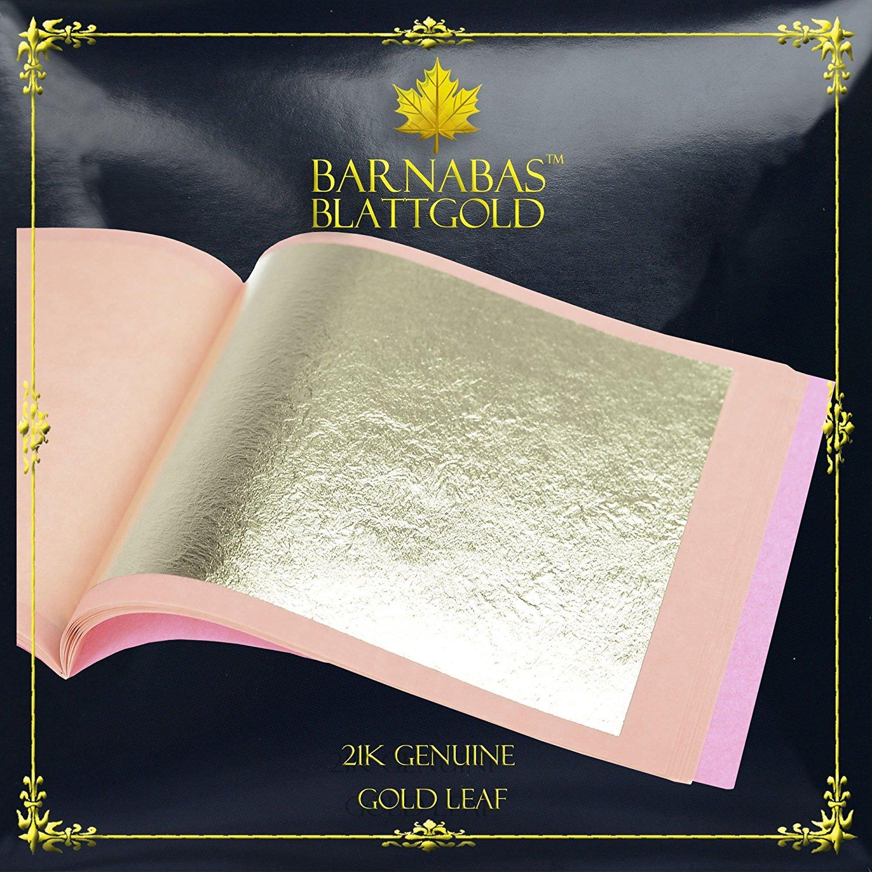 Barnabas Blattgold: Professional Quality Genuine Gold Leaf Sheets, 21k, 25 Sheets, 85 x 85 mm Booklet (Loose Leaf) G85-21K-25