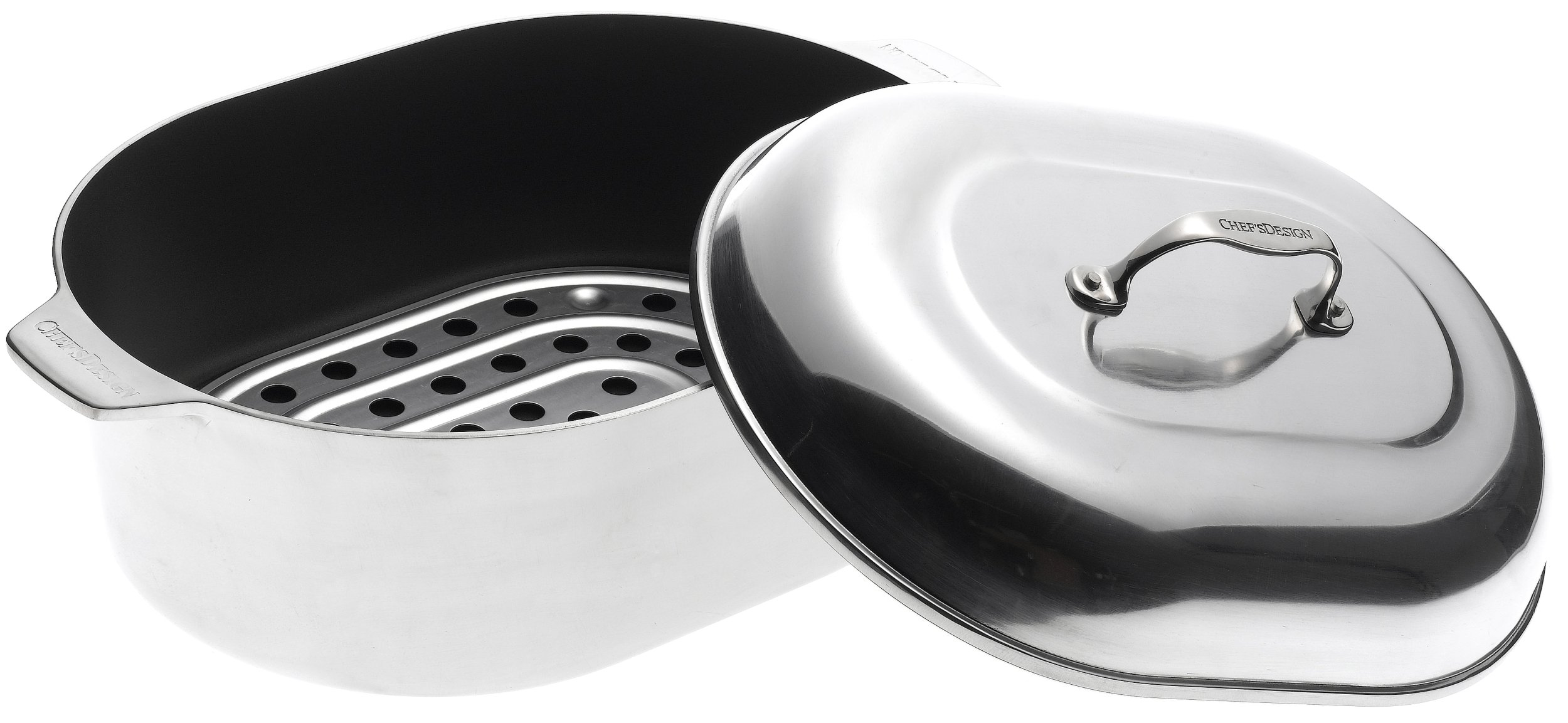 Chef's Design 13-1/2-Quart Covered Oval Roaster with Nonstick Interior