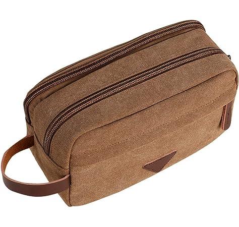 Xelparuc - Neceser de viaje para hombre con compartimentos dobles de lona de cuero cosmético organizador de maquillaje para afeitar, color café: Amazon.es: Belleza