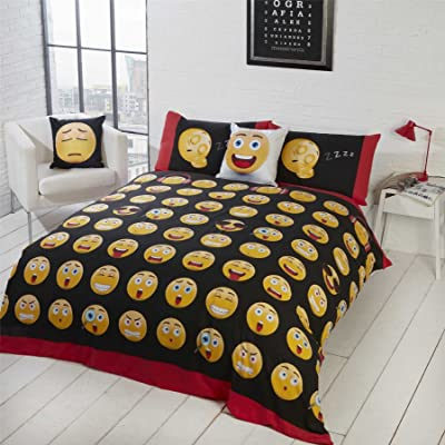 EMOJI OMG LOL HAPPY ANGRY BLACK WHITE RED COTTON BLEND USA TWIN (COMFORTER COVER 135 X 200 - UK SINGLE) (PLAIN WHITE FITTED SHEET - 91 X 191CM + 25 - UK SINGLE) PLAIN WHITE HOUSEWIFE PILLOWCASES 5 PIECE BEDDING SET: Everythin