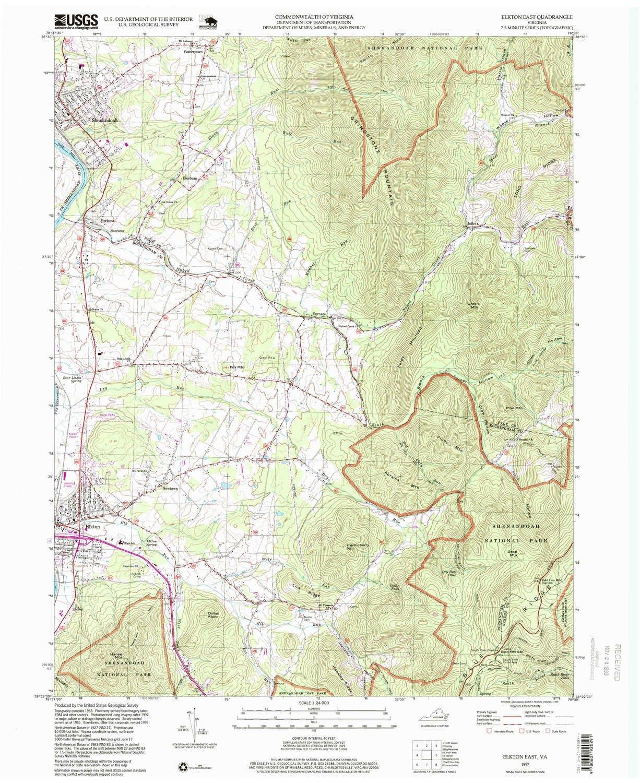 Amazon.com : YellowMaps Elkton East VA topo map, 1:24000 Scale, 7.5 ...