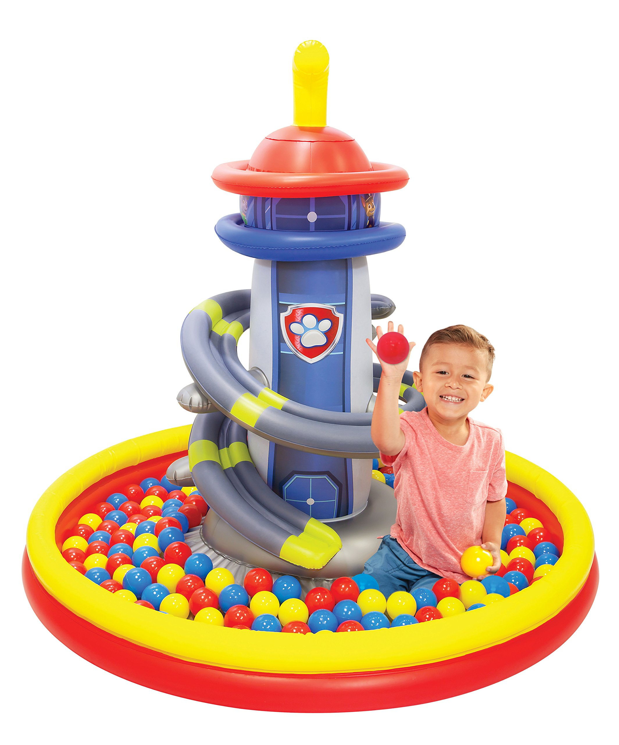 Paw Patrol Lookout Tower Ball Pit, 1 Inflatable & 50 Sof-Flex Balls, Blue/Red, 43''W x 43''D x 38''H
