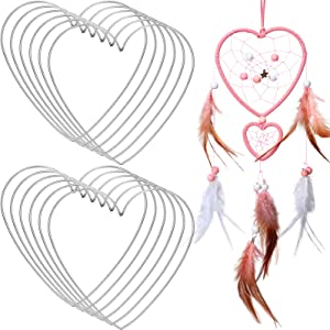 Chuangdi 12 Pieces Heart Metal Dream Catcher Dreamcatcher Rings Heart Shaped Catcher Rings Macrame Hoop Rings for Mother's Day Birthday Valentine's Day Wedding DIY Craft Wall Hanging Decor (10 Inch)