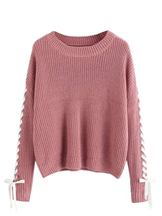 3507badee825 MAKEMECHIC Women s Casual Lace Up Long Sleeve Pullover Sweater Knitted  Jumper at Amazon Women s Clothing store