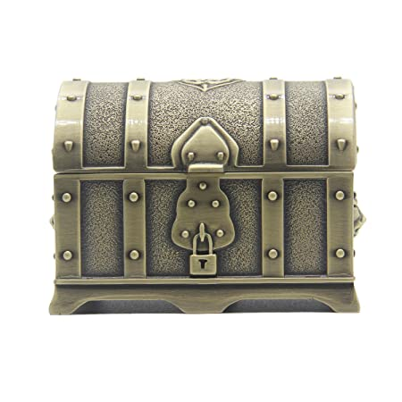 AVESON Rectangle Vintage Metal Treasure Chest Trinket Jewelry Box