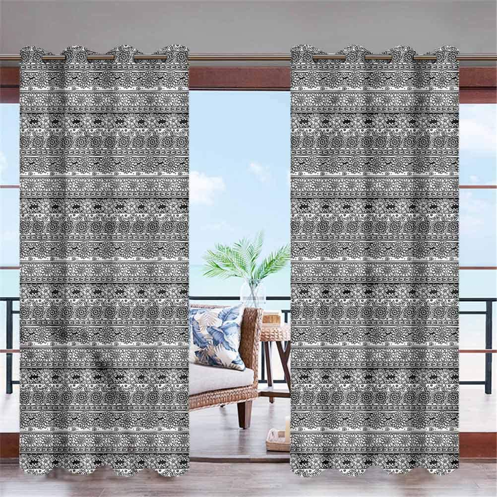 """ParadiseDecor Black and White Indoor/Outdoor for Garden Drapes Porch Gazebo Curtains Monochrome Flowers 108"""" W x 63"""" L"""