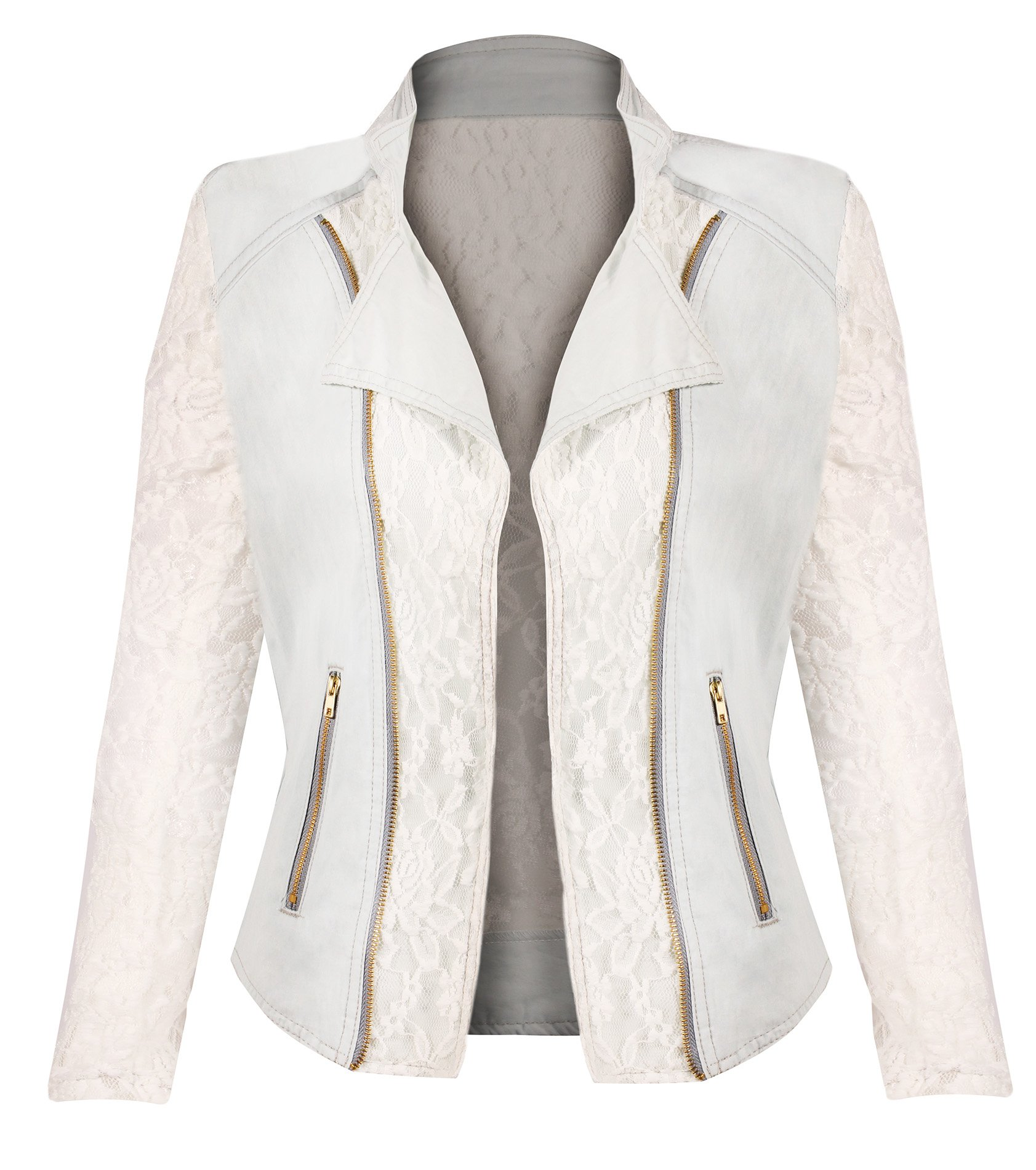 HOT FROM HOLLYWOOD Women's Button Down Long Sleeve Classic Outerwear Denim Jacket by HOT FROM HOLLYWOOD