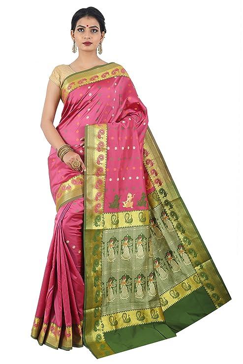 Misal Sarees Women's Indian Ethnic Design Handloom Baluchari Bengal Origin Silk Saree with Blouse Piece (MS1649, Pink and Green)