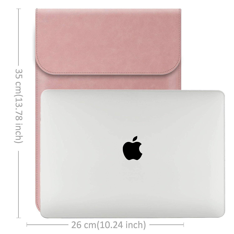 TECOOL 13 Pouces Housse pour PC Portable en Cuir PU,Pochette pour Ordinateur Portable Sacoche Macbook Laptop Sleeve Macbook Air 13 Noir // 2013-2018 Macbook Pro 13 Retina A1932// A1466// A1369
