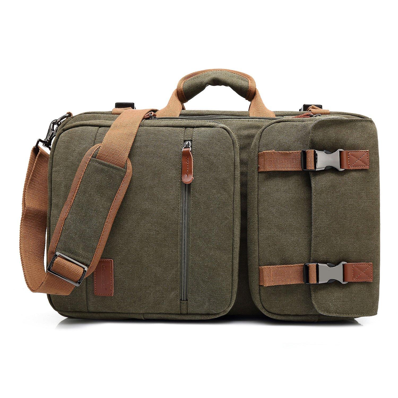 Amzbag Laptop Bag Convertible Backpack Messeng Bag Laptop Case 17 Inches Water-Resistance Canvas Handbag Business Briefcase Multi-Functional Travel Rucksack for Men/Women(Dark Grey)