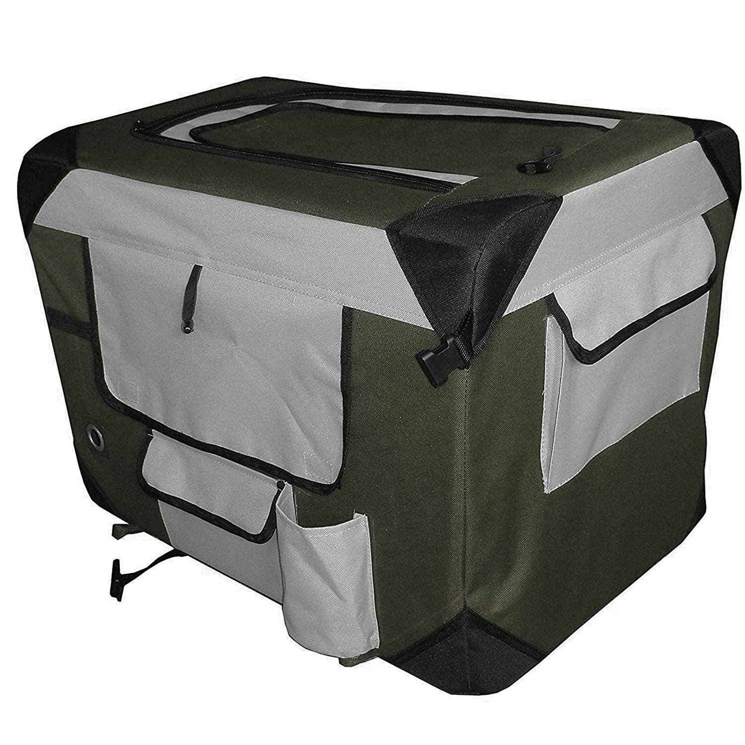 Olive Green Petzip Pet Soft Crate, Olive Green