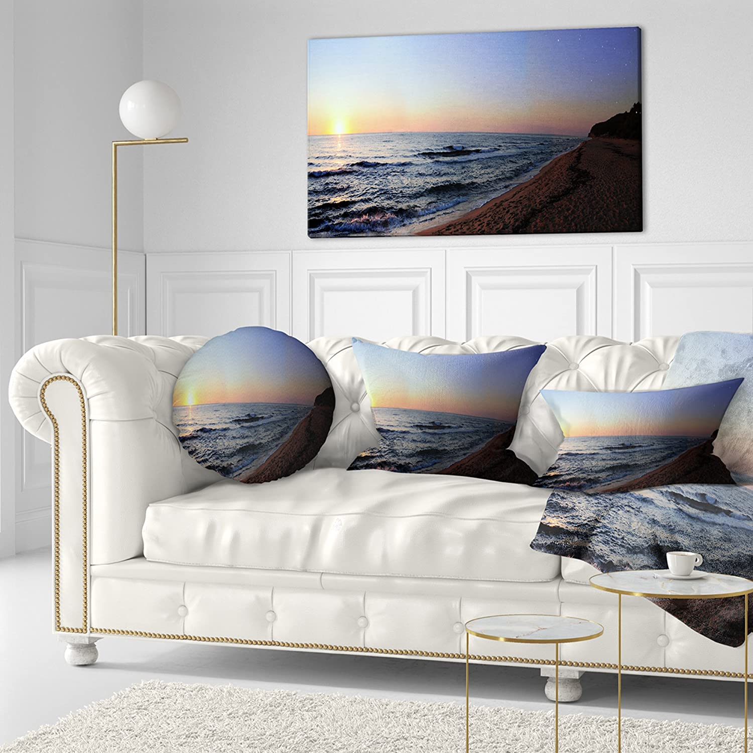 Designart CU10870-20-20-C Sunset Beach Panorama Modern Seashore Round Cushion Cover for Living Room Insert Printed On Both Side Sofa Throw Pillow 20