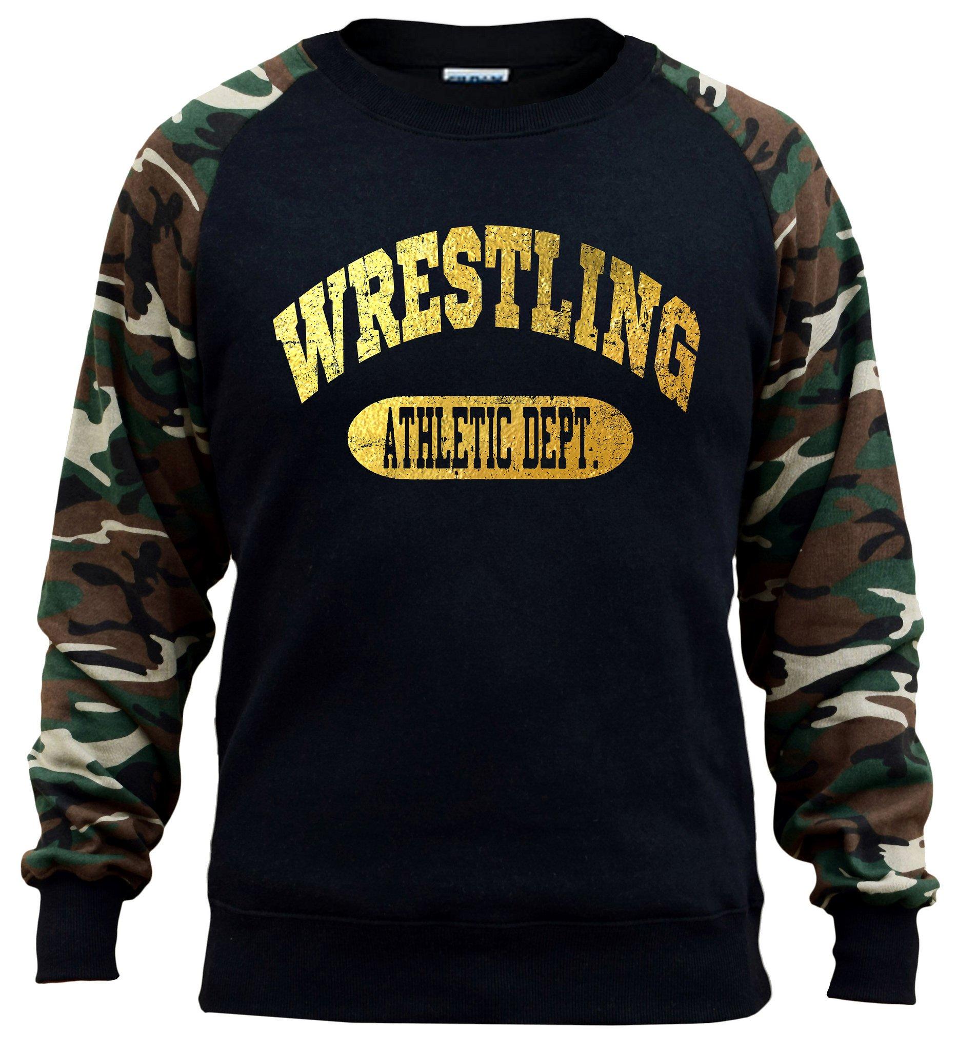 Interstate Apparel Men's Gold Foil Wrestling Athletic Dept. Black/Camo Raglan Baseball Sweatshirt X-Large Black