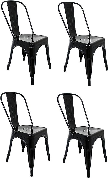 La Silla Española - Pack 4 Sillas estilo Tolix con respaldo. Color Negro. Medidas 85x54x45,5: Amazon.es: Hogar
