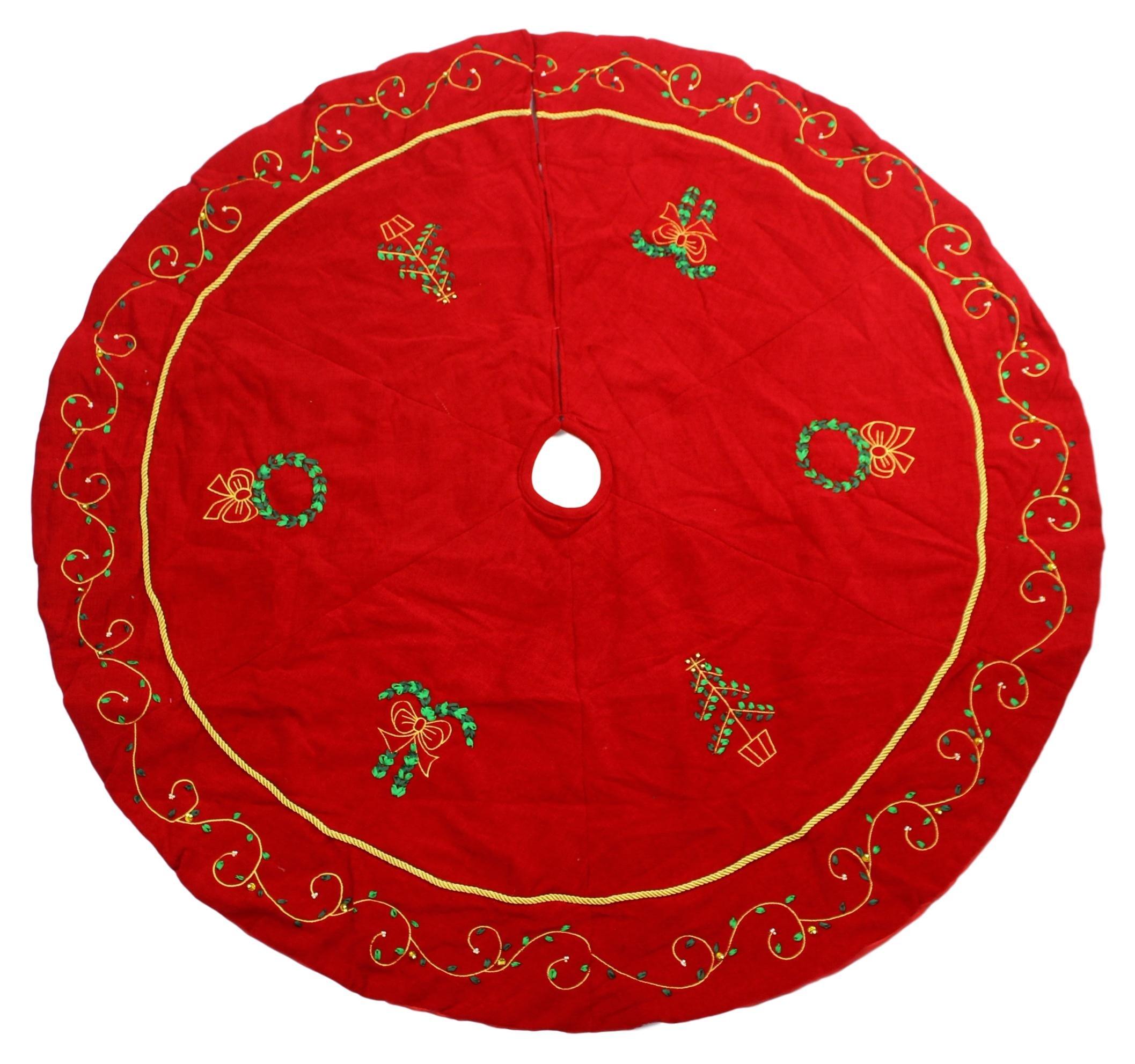 Supree Creations Ltd. 52'' Red Christmas Tree Skirt Embroidered