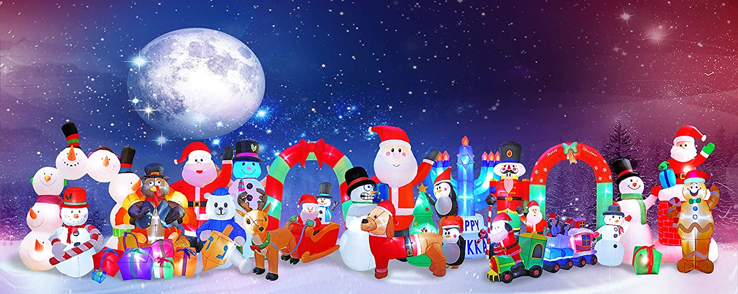 BIGJOYS 8 Ft Inflatable Christmas Arch Decoration Santa Claus and Snowman Archway Decorations for Indoors Outdoors Yad Home Garden Lawn CHX1494-240