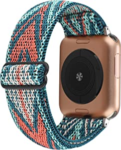 Stretchy Nylon Solo Loop Bands Compatible with Apple Watch 38mm 40mm, Adjustable Stretch Braided Sport Elastics Women Men Strap Compatible with iWatch Series 6/5/4/3/2/1 SE 38mm 40mm Colorful Arrow