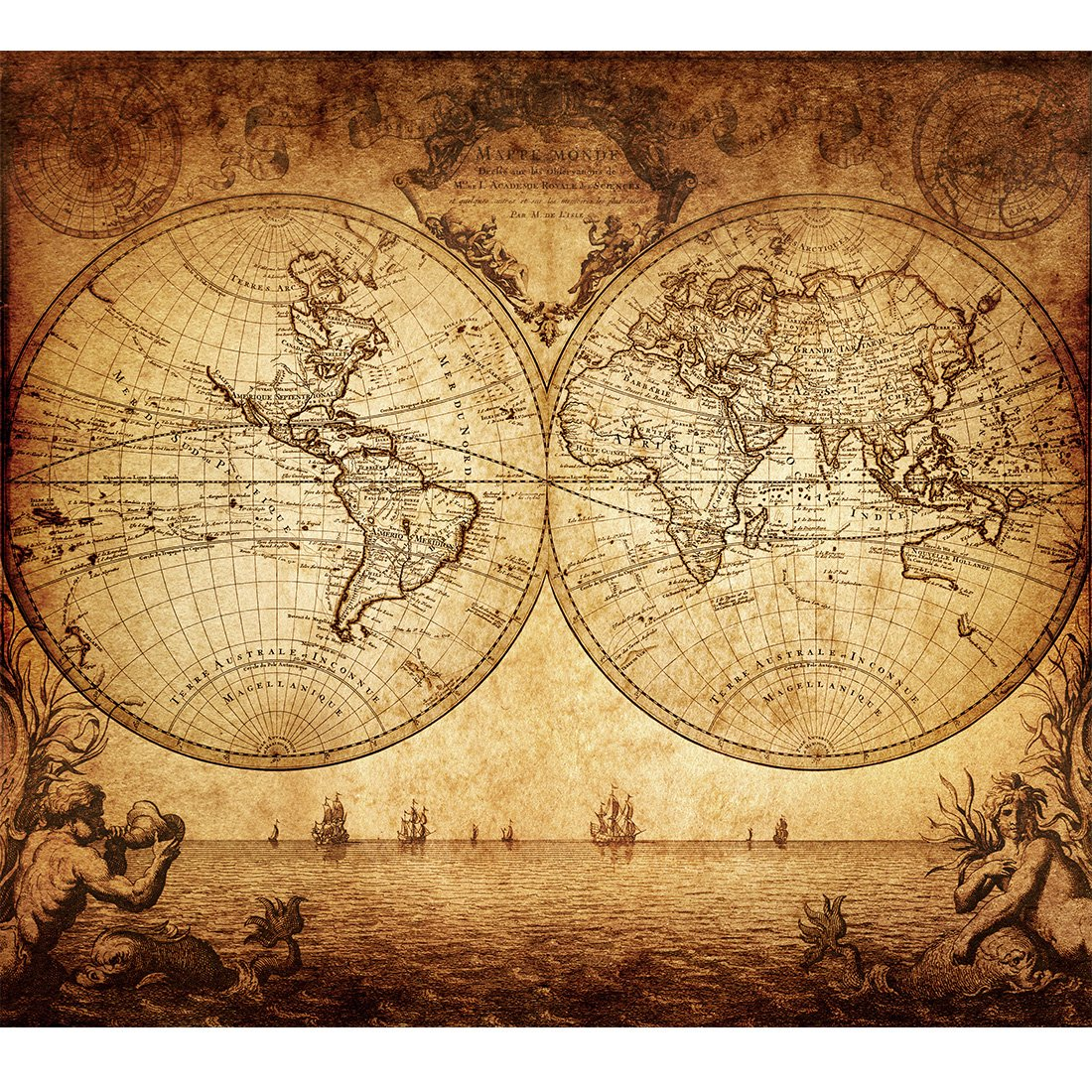 Amazon.com: Vintage Old World Map Poster Print Art 1733 Nautical ...